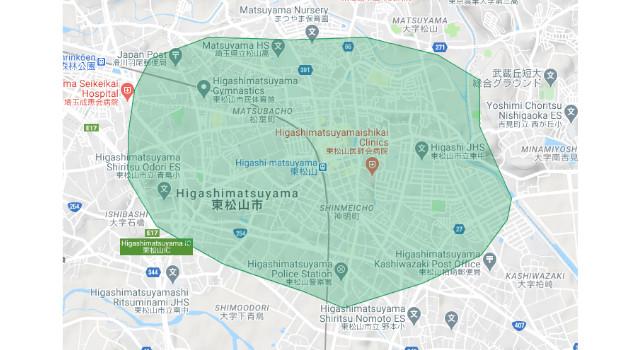 東松山市のUber Eats(ウーバーイーツ)配達エリア・範囲