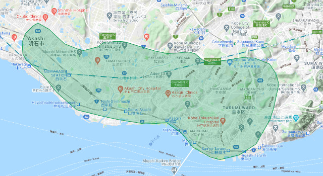 神戸市のUber Eats(ウーバーイーツ)配達エリア・範囲