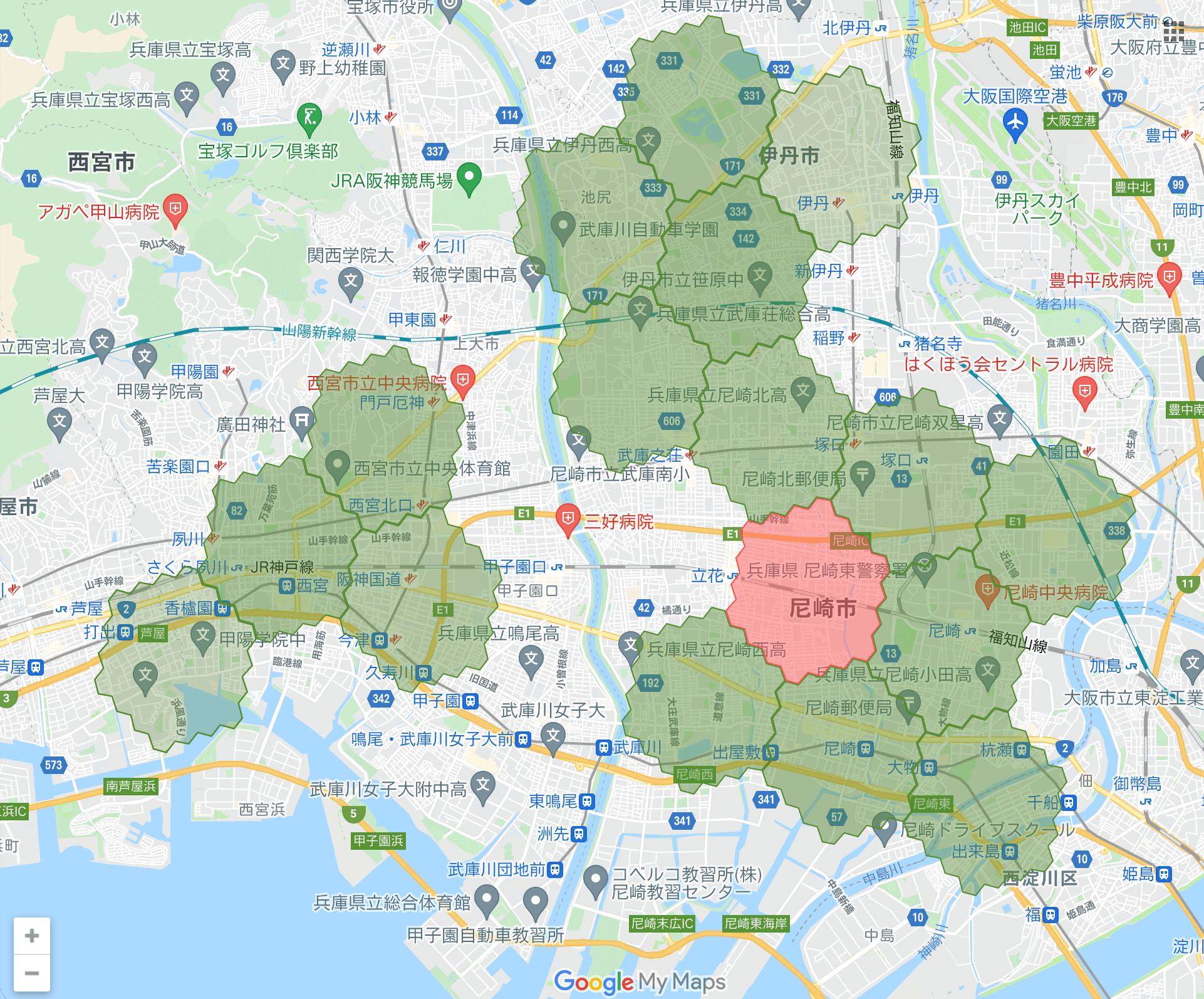 兵庫県のmenu(メニュー)対応エリア・配達エリア