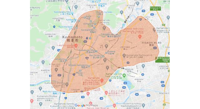熊本県熊本市のUber Eats(ウーバーイーツ)配達エリア・範囲